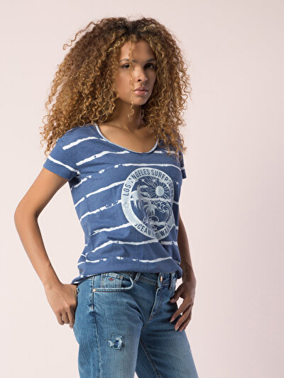 COLINS голубой <br>Пол: женский; Цвет: индиго меланж; Размер INT: XL;