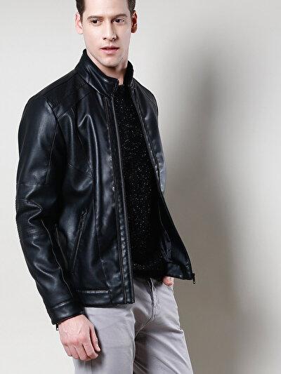 COLINS черный мужской куртки-pu<br>Пол: мужской; Цвет: черный; Размер INT: XXL;