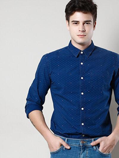 COLIN'S синий мужской рубашки длинний рукав