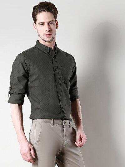 COLINS хаки мужской рубашки длинний рукав<br>Пол: мужской; Цвет: хаки; Размер INT: S;