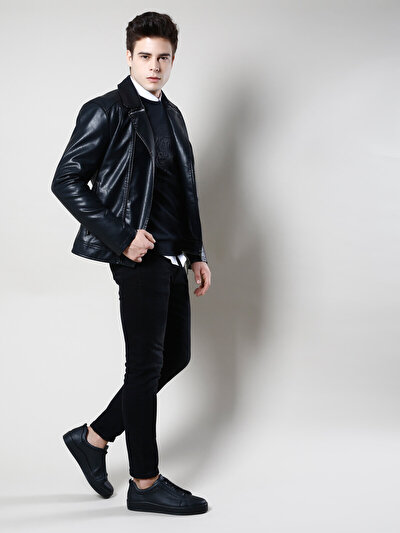 COLINS черный мужской куртки-pu<br>Пол: мужской; Цвет: черный; Размер INT: M;