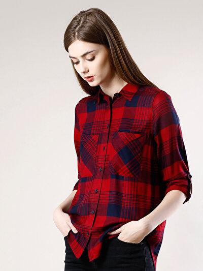 COLINS красный женский рубашки длинний рукав<br>Пол: женский; Цвет: красный; Размер INT: L;