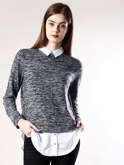 COLINS антрацит женский свитеры<br>Пол: женский; Цвет: смешанный антрацит; Размер INT: XS;