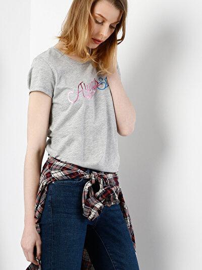 COLINS серый женский футболки короткий рукав<br>Пол: женский; Цвет: смешанный серый; Размер INT: L;
