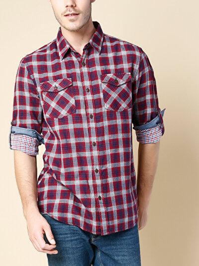 COLINS красный мужской рубашки длинний рукав<br>Пол: мужской; Цвет: темно-красный; Размер INT: XL;