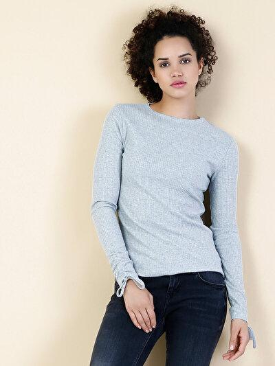 COLINS серый женский футболки длинный рукав<br>Пол: женский; Цвет: смешанный серый; Размер INT: S;