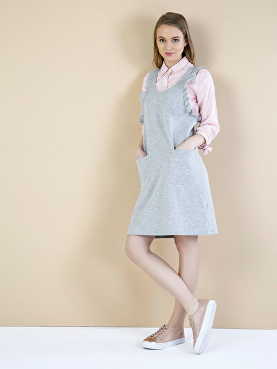 Изображение Серое Меланж Платье На Бретелях С V-Образным Вырезом