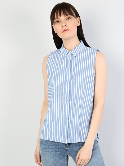 Изображение Голубой жен. Рубашки Короткий рукав