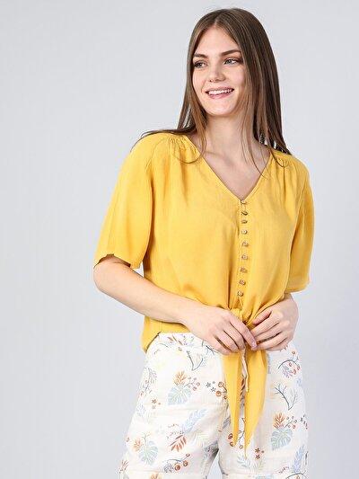 Изображение Желтый жен. Рубашки Короткий рукав