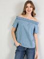 Показать информацию о Голубой жен. Рубашки Короткий рукав